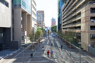 Photo of an the goods line walkway with pedestrians in Sydney, NSW.