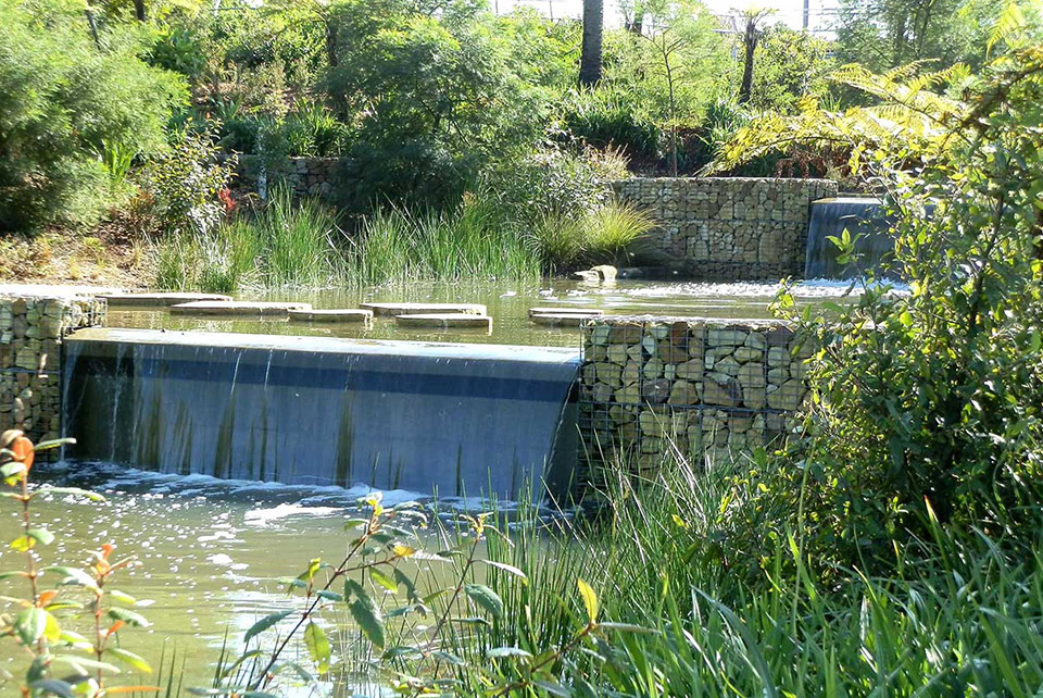 A water feature in Sydney Park.